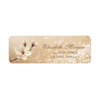 Elegant  Magnolia Glittery Bokeh  Address