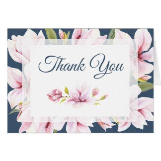 Elegant Magnolia Watercolor Floral Thank You Card