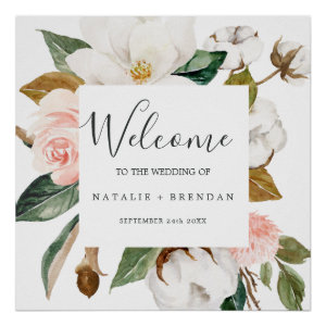 Elegant Magnolia | White and Blush Welcome Wedding Poster