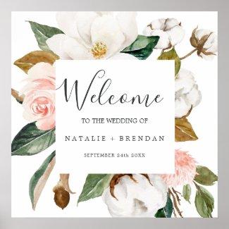 Elegant Magnolia | White and Blush Welcome Wedding Poster