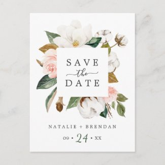 Elegant Magnolia | White Save the Date Postcard