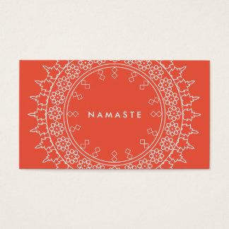Elegant Mandala Namaste Yoga Coral Business Card