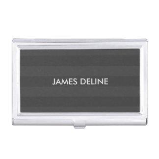 Elegant Manly Dark Grey Stripes Business Card Holder