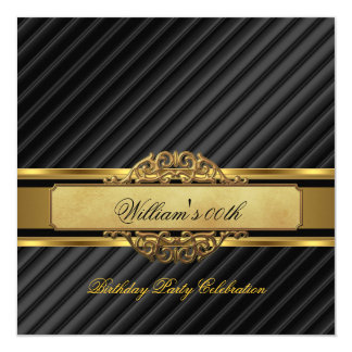 "Elegant Mans Black Gold Birthday Party Mens 5.25"" Square Invitation Card"