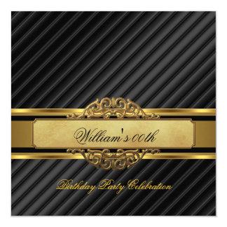 "Elegant Mans Black Gold Birthday Party Mens 5.25"" Square Invitation Card"