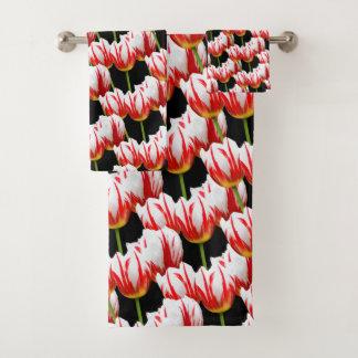 Elegant Maple Leaf Tulips Bath Towel Set