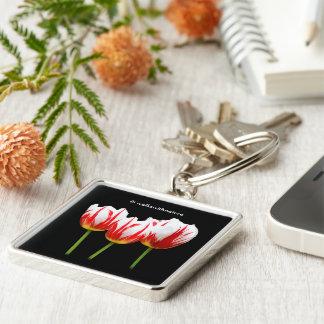Elegant Maple Leaf Tulips Keychain
