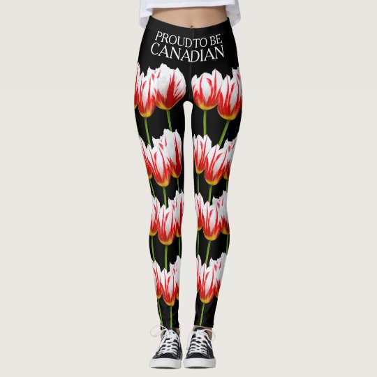 Elegant Maple Leaf Tulips Leggings