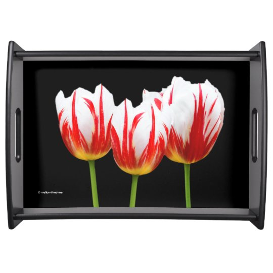 Elegant Maple Leaf Tulips Serving Tray