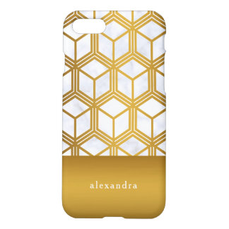 Elegant Marble and Gold Geometric Pattern iPhone 8/7 Case