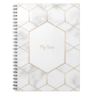 Elegant marble and gold notebook