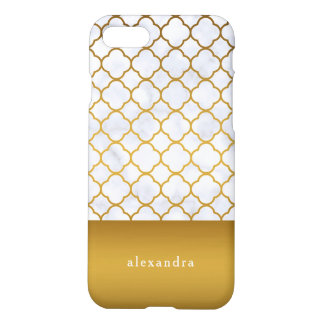 Elegant Marble and Gold Quatrefoil Pattern iPhone 8/7 Case