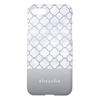 Elegant Marble and Silver Quatrefoil Pattern iPhone 8/7 Case
