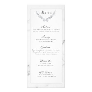 Elegant Marble and Wreath Wedding Menu Card