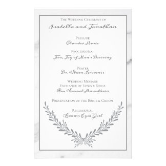 Elegant Marble and Wreath Wedding Program