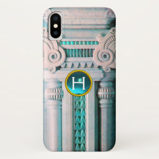 ELEGANT MARBLE COLUMN,PINK BLUE GEM STONE MONOGRAM iPhone X CASE