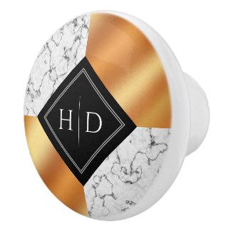 Elegant Marble & Copper Foil Ceramic Knob