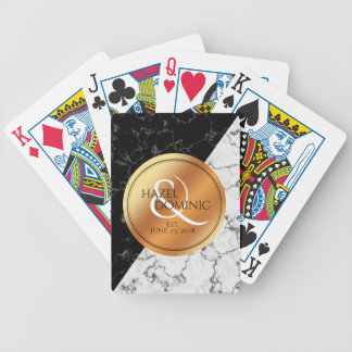 Elegant Marble & Copper Foil Wedding Keepsake Bicycle Playing Cards