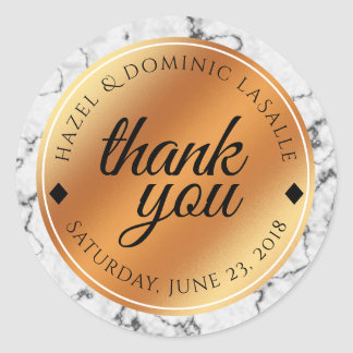 Elegant Marble & Copper Foil Wedding Thank You Classic Round Sticker