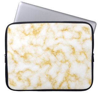 Elegant Marble - Gold White Laptop Sleeve