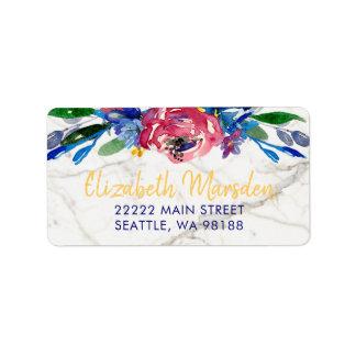 Elegant Marble Hand Lettered Gold Burgundy Floral Label