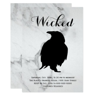 Elegant Marble Raven Halloween Costume Party Card