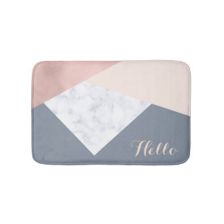 elegant marble rose gold grey beige geometric bath mat