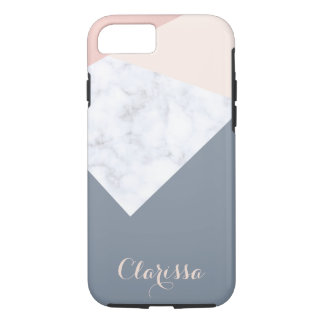 elegant marble rose gold grey beige geometric iPhone 8/7 case