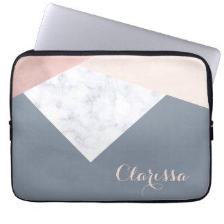 elegant marble rose gold grey beige geometric laptop sleeve