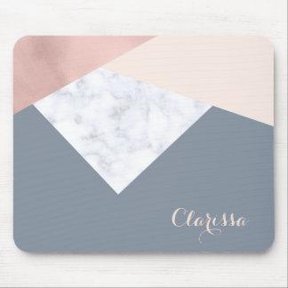 elegant marble rose gold grey beige geometric mouse pad