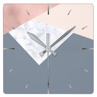 elegant marble rose gold grey beige geometric square wall clock