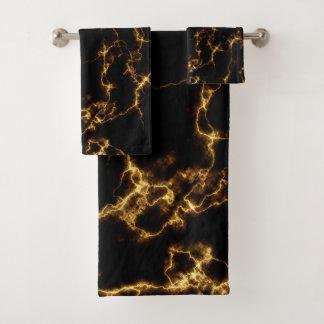 Elegant Marble style3 - Black Gold Bath Towel Set