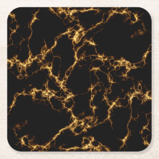 Elegant Marble style3 - Black Gold Square Paper Coaster
