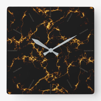 Elegant Marble style3 - Black Gold Square Wall Clock