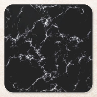 Elegant Marble style4 - Black and White Square Paper Coaster