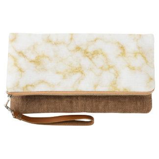 Elegant Marble style - Gold White Clutch