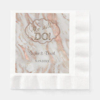 Elegant Marble We stll DO Renew the Vows Paper Napkin