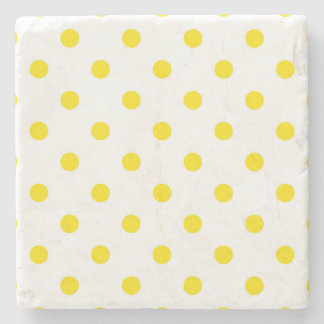 Elegant marble with yellow Dots Stone Coaster