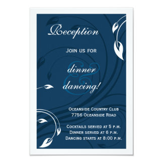 Elegant Marine Blue White Wedding Insert Card