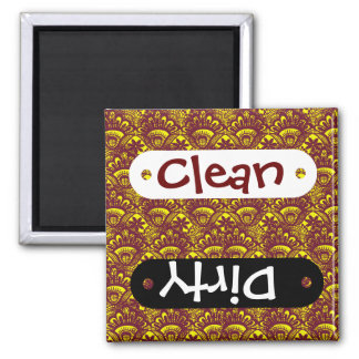 Elegant Maroon and Yellow Lace Damask Pattern Square Magnet