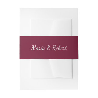 Elegant Maroon Classic Wedding Belly Bands Invitation Belly Band