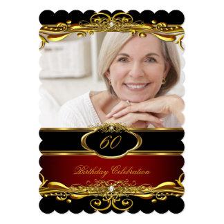 "Elegant Maroon Red Black Gold 60th Birthday Party 5"" X 7"" Invitation Card"
