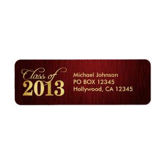 Elegant Maroon vignette and Gold Class of 2013 Return Address Label
