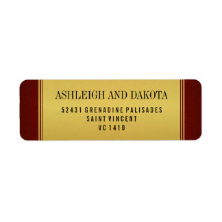 Elegant Maroon Wedding Collection & Gold Overlay Return Address Label