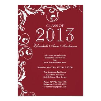 Elegant Maroon White Graduation Party Invitation