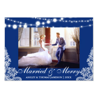 Elegant Married & Merry Holiday Photo Card B