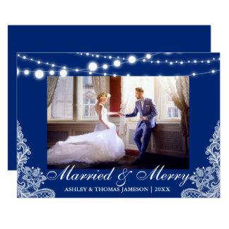 Elegant Married & Merry Holiday Photo Card Blue