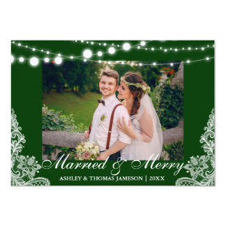 Elegant Married & Merry Holiday Photo Card G