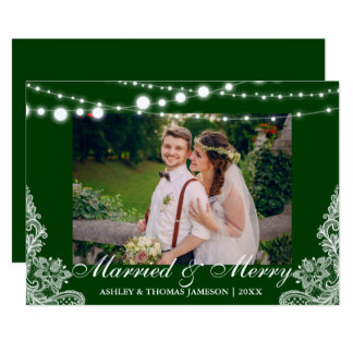 Elegant Married & Merry Holiday Photo Card GB