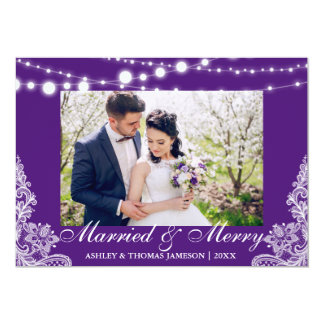 Elegant Married & Merry Holiday Photo Card P